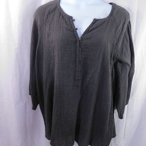 Sonoma Gray Peasant Henley Tunic 100% Cotton 3X